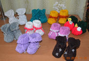 Пинетки  вязанные  ручной  работы для малышей,  новые недорого
