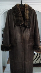 Кожаное женское пальто