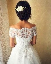 Счастливое свадебное платье 2016г. нежное кружево S/M