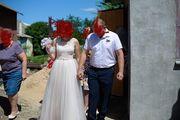 нежно-кремовое свадебное платье
