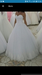 Шикарное белое свадебное платье корсет